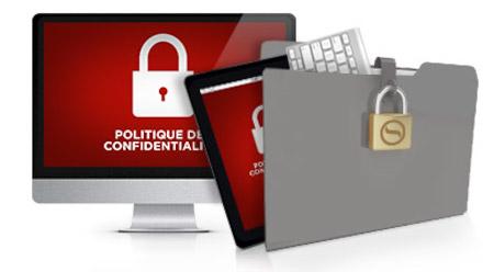 La politique de confidentialité d'un site web.